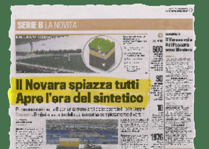 """""""El Novara desplaza a todos. Abre la era del sintético."""" – La gazzetta dello sport – 04/08/2010"""
